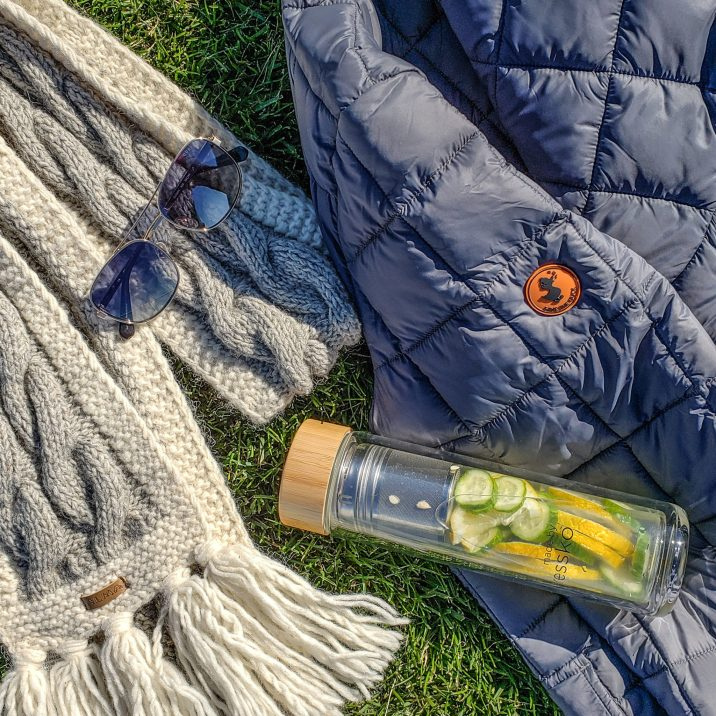 Water Bottle by Fressco, Sunglasses by Guess