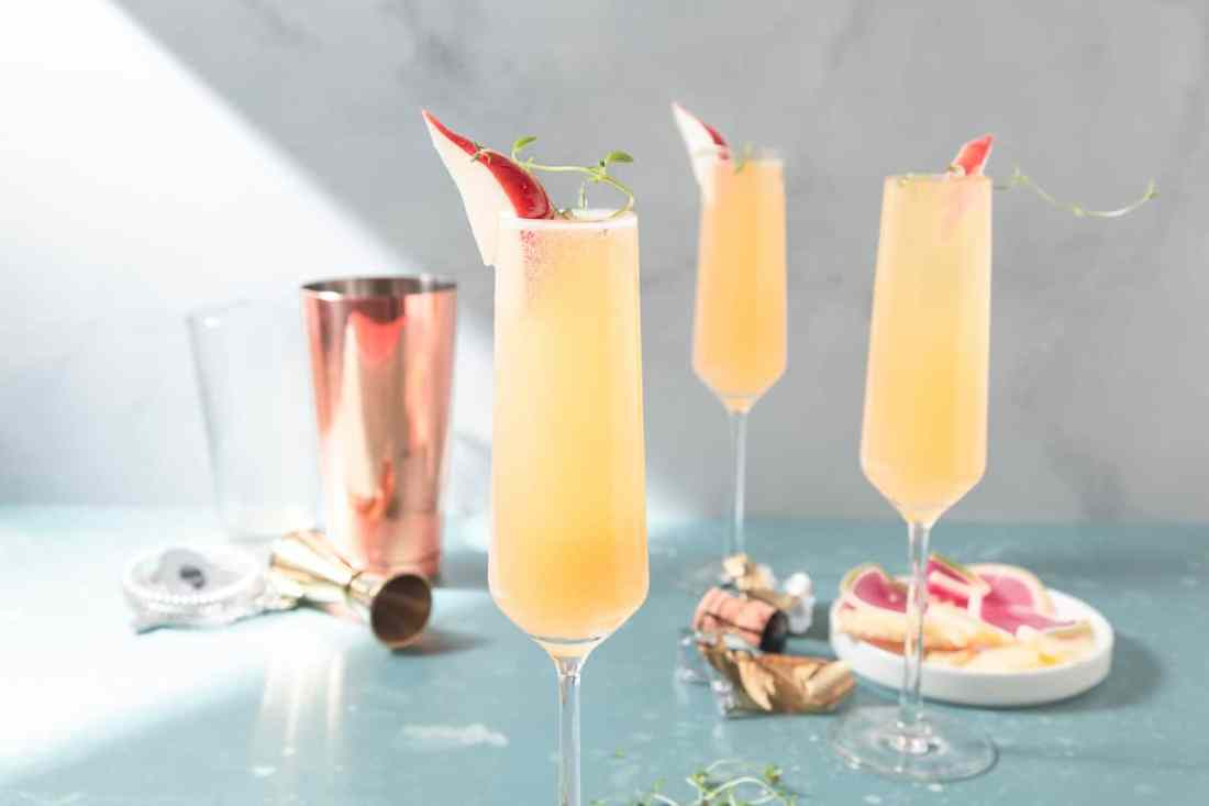Pear and Gin Prosecco Cocktail