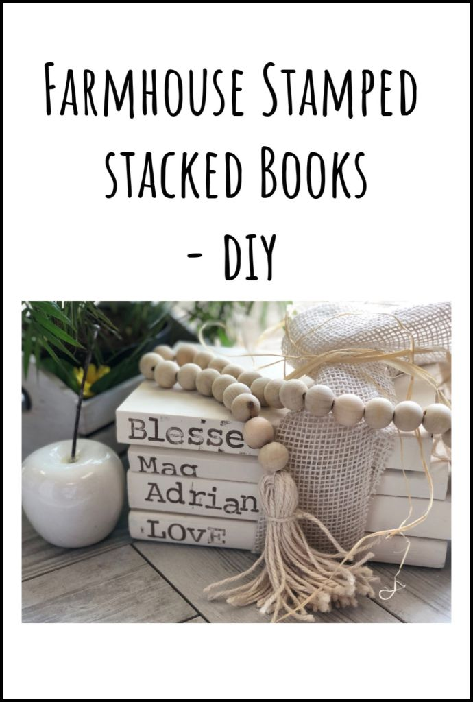 Painted stamped Stack books set with wooden beads garland DIY .Easy to follow instructions.