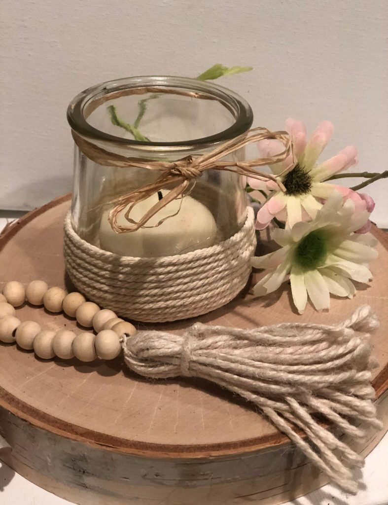 Simple way to decorate with Oui yogurt jars. Twine rope