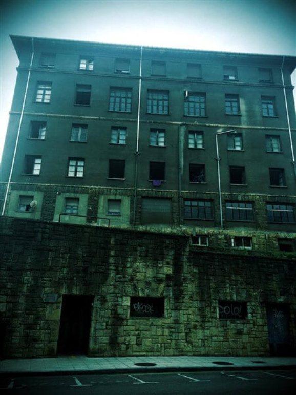 Hostel on a gloomy street