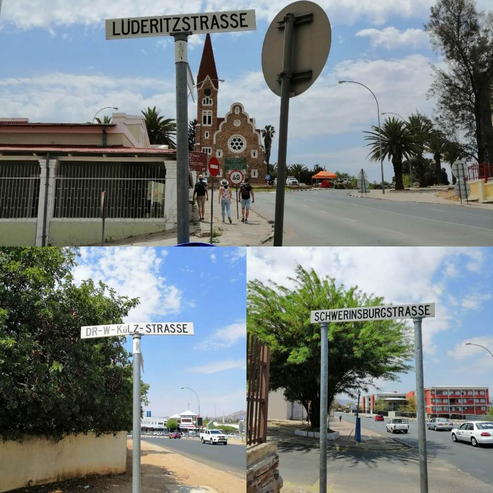 Street signs around Namibia with German sounding names