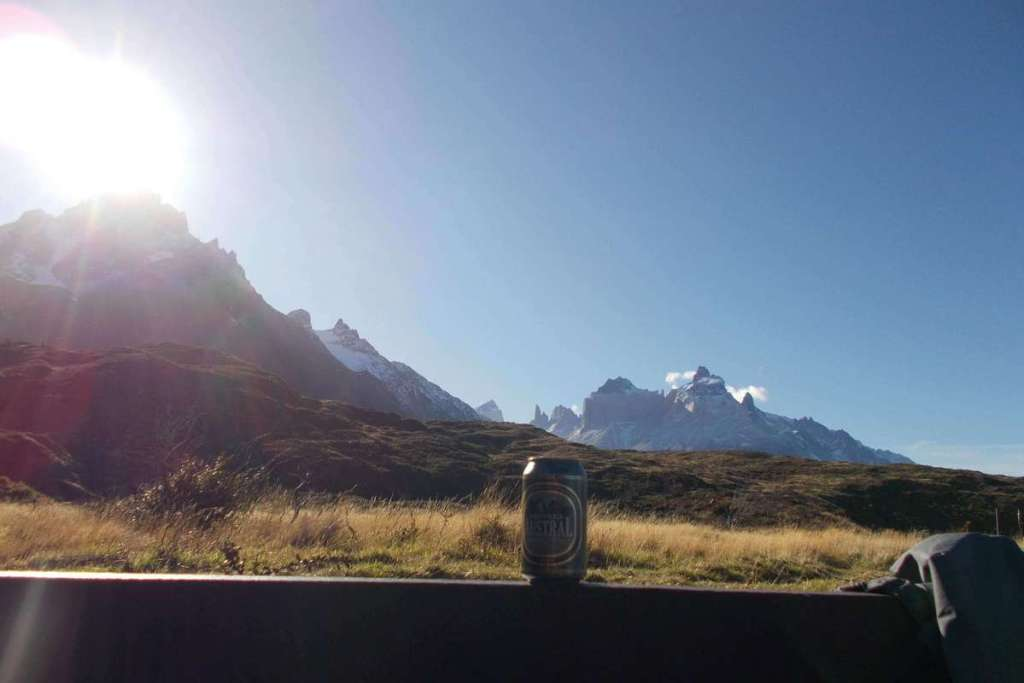 Relaxing with a beer and stunning views, Torres del Paine National Park