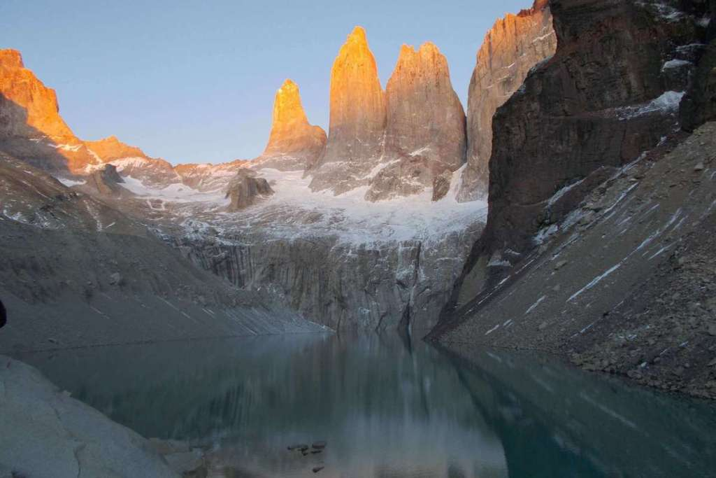 View of the towers at sunrise, Torres del Paine National Park