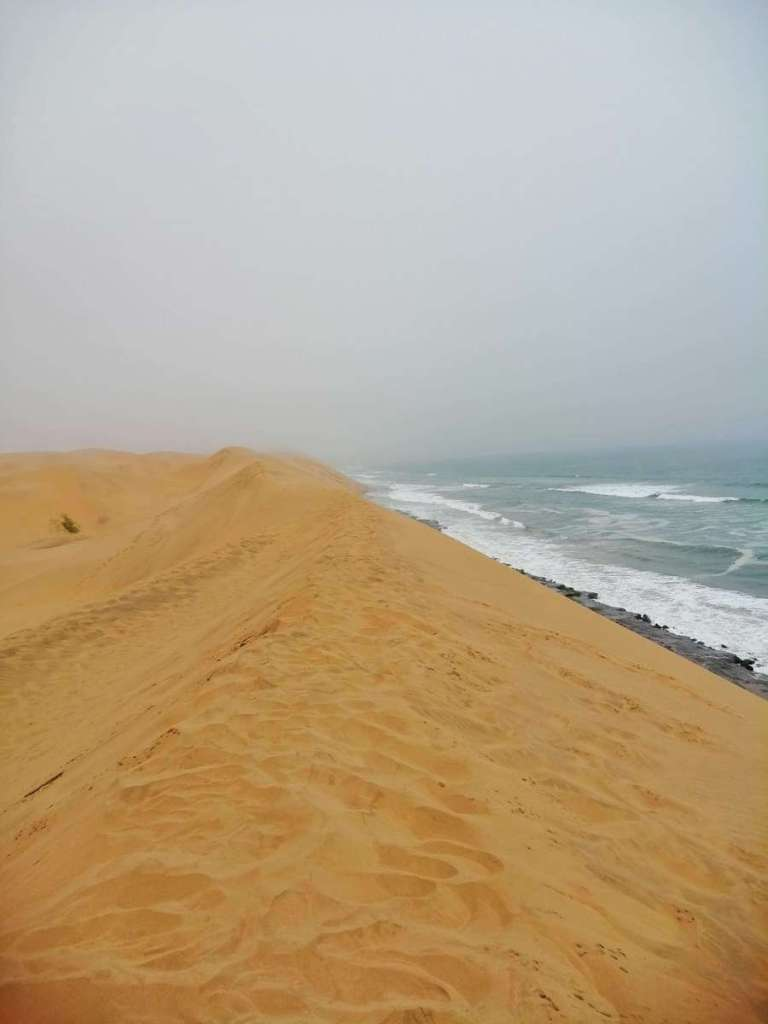 Sea meeting the sand dunes in the Namib Desert