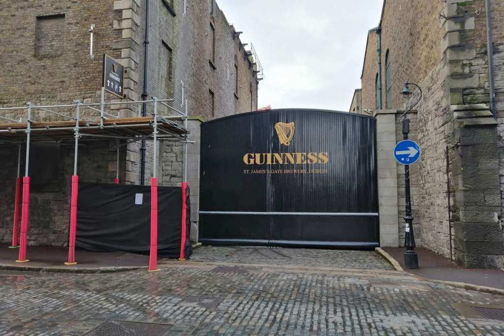 Guinness factory gates at St. James' Gate