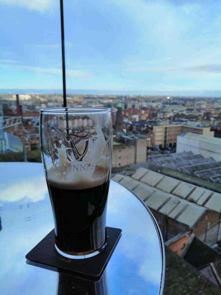 A pint of Guinness with a view looking over Dublin