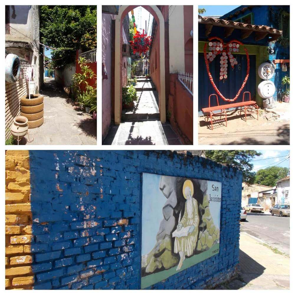 Brightly coloured street murals in San Jeronimo