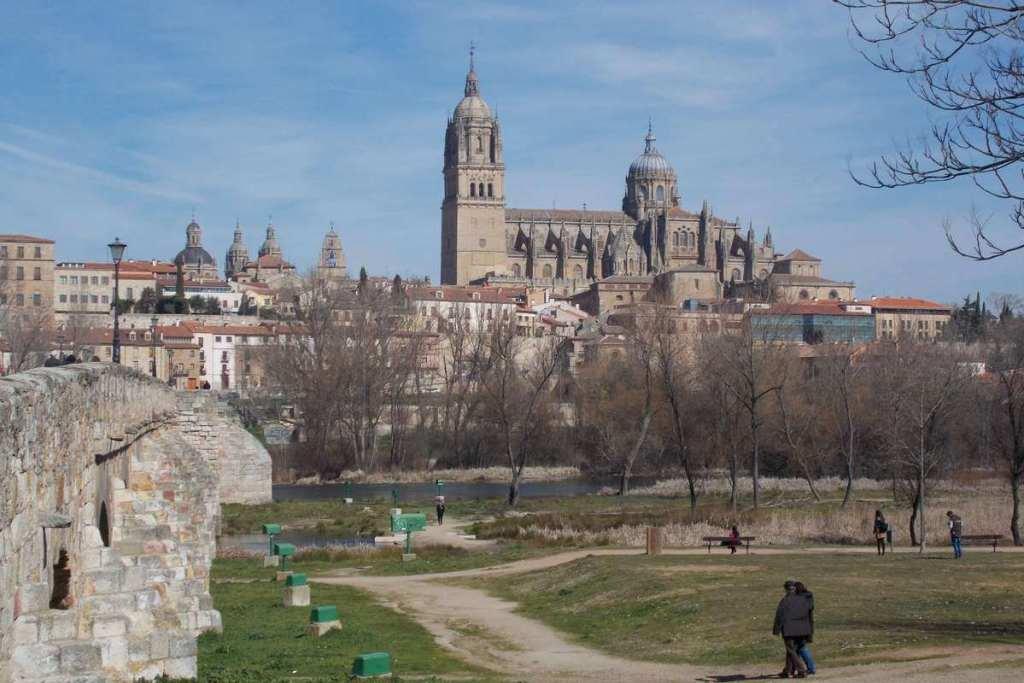 Salamanca cathedral from the Roman bridge
