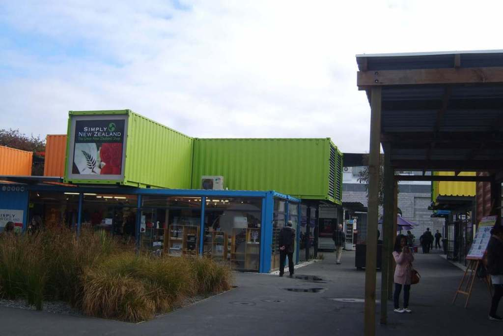 Brightly coloured shipping containers in Christchurch's Re:Start Mall