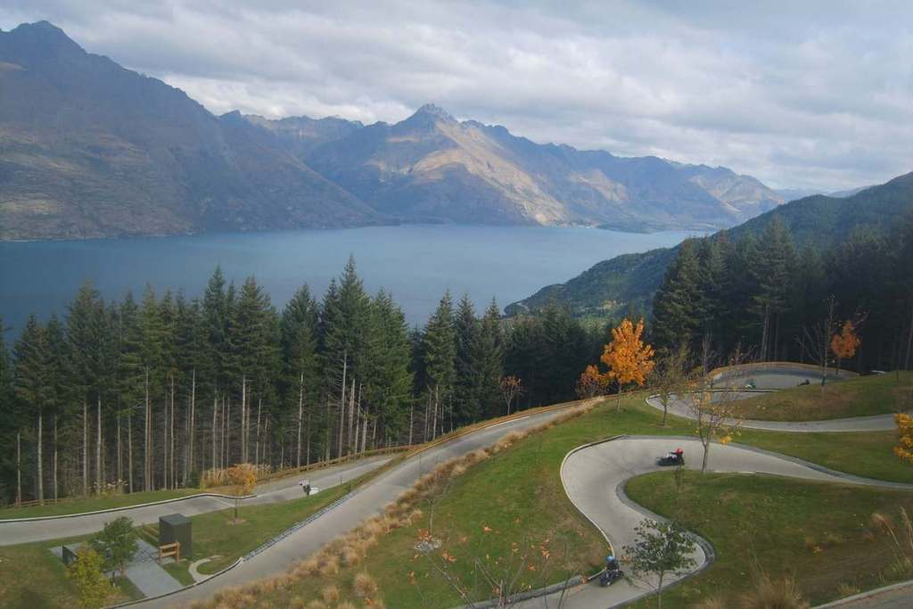 View overlooking Queenstown and the nearby lake and mountains