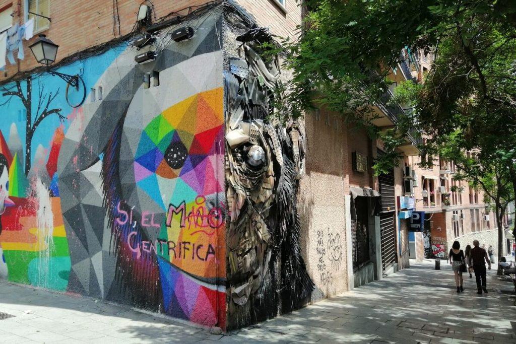 Okuda San Miguel street art in Lavapies