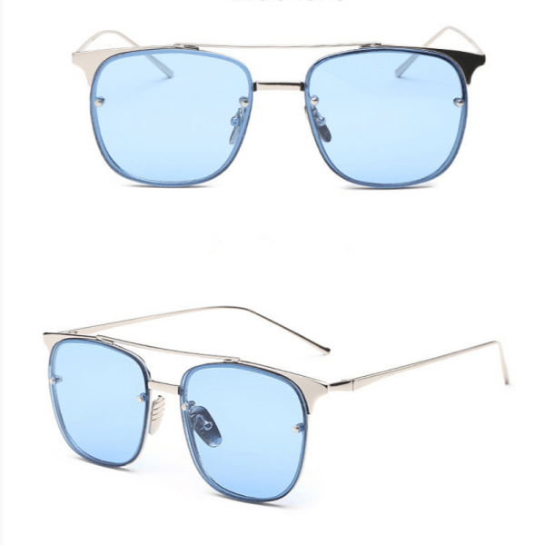 blue lens square sunglasses Just Trimmings