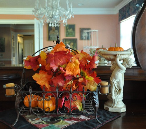A simple fall leaves decoration