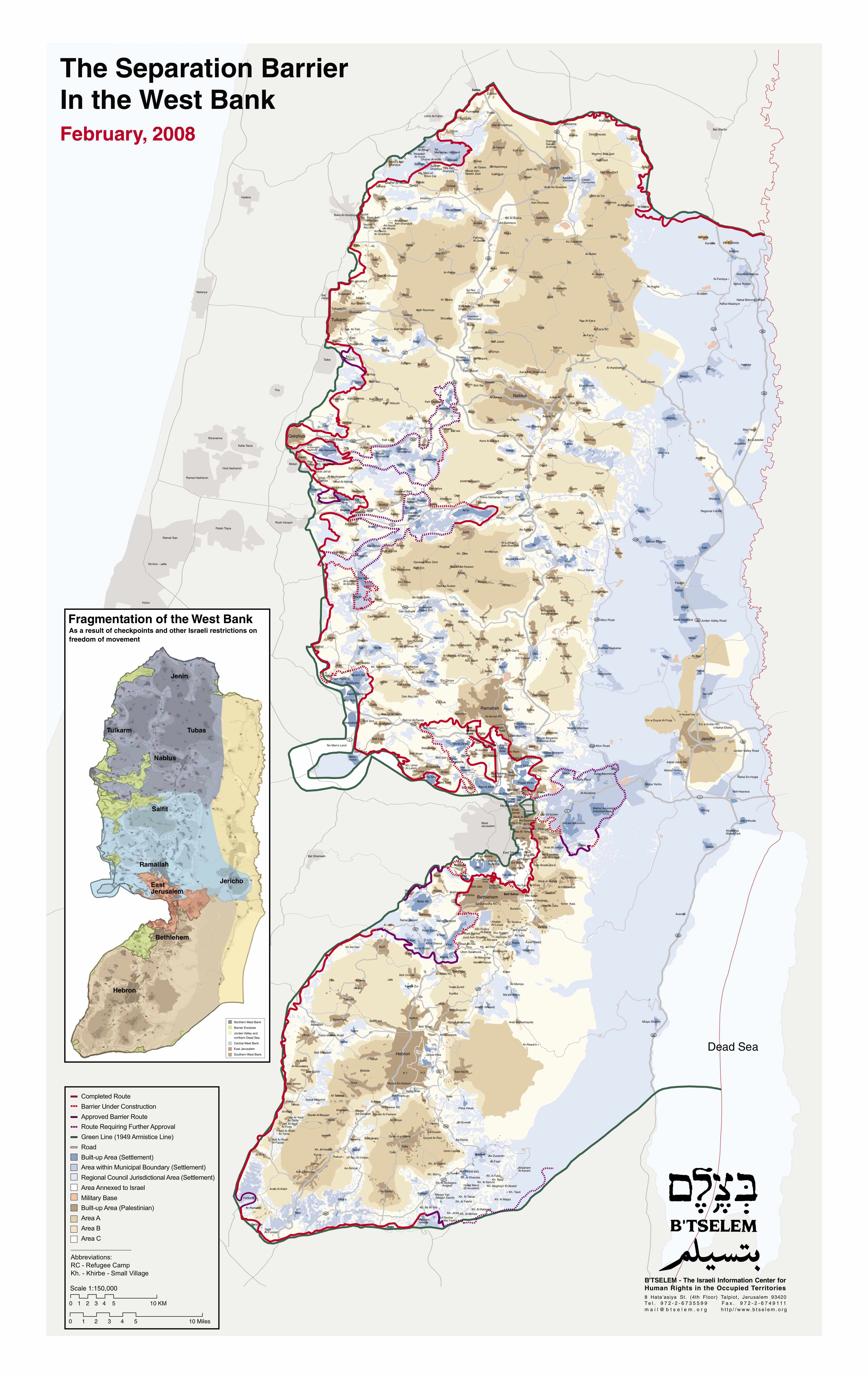Israeli Security Barrier and Settlements in the West Bank