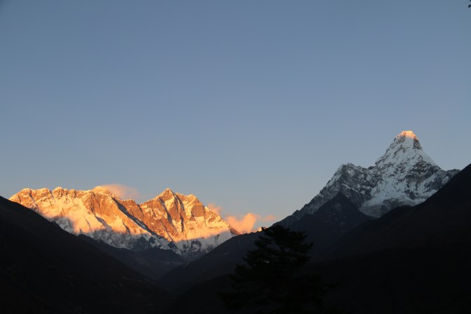 Ama Dablam looks massive in front, but with help of the sun we can easily see how much taller Nuptse, Lhotse and Everest in the back are staggering!