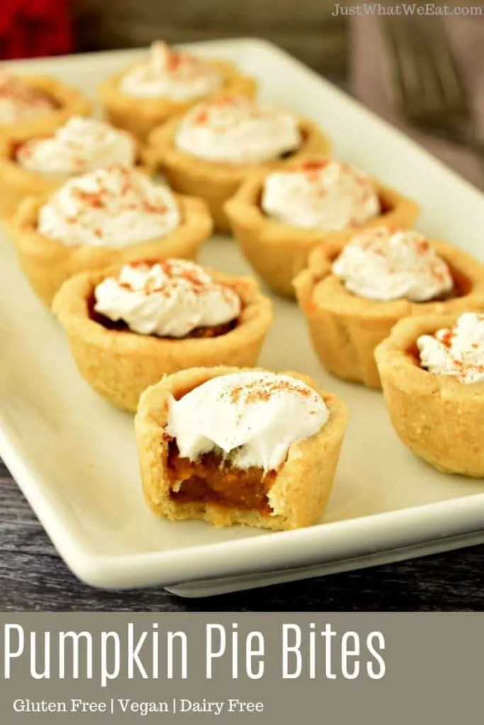 These gluten free, vegan, and refined sugar free Pumpkin Pie Bites are one of my favorite Fall desserts! The crust is buttery and flaky and the filling has the most delicious pumpkin and warm spice flavor!