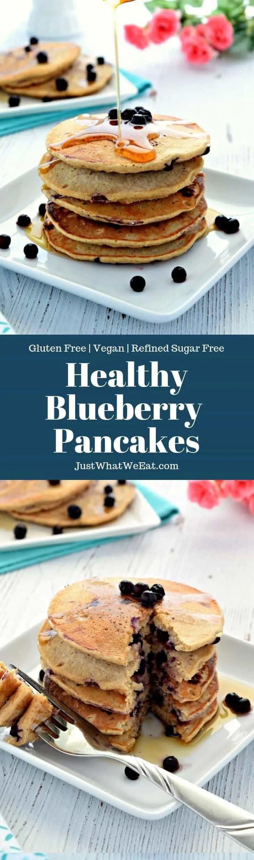 Blueberry Oat Flour Pancakes - Gluten Free, Vegan, Refined Sugar Free