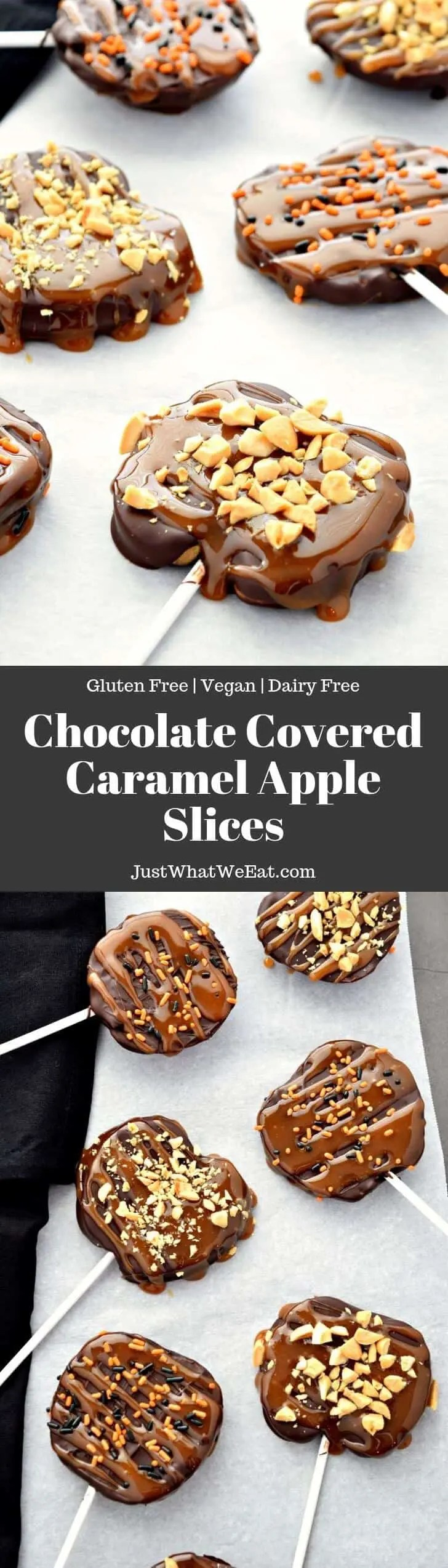 Nothing quite says Fall like Caramel Apples! These Chocolate Covered Caramel Apple Slices are a delicious take on traditional caramel apples. They are gluten free, vegan, and taste incredible!