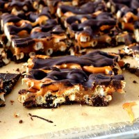 These gluten free and dairy free Chocolate Caramel Pretzel Bars have layers of chocolate, caramel, and pretzels! They are a delicious and decadent treat for any occasion! #glutenfree #dairyfree #dessert #recipes #chocolate #caramel #easy