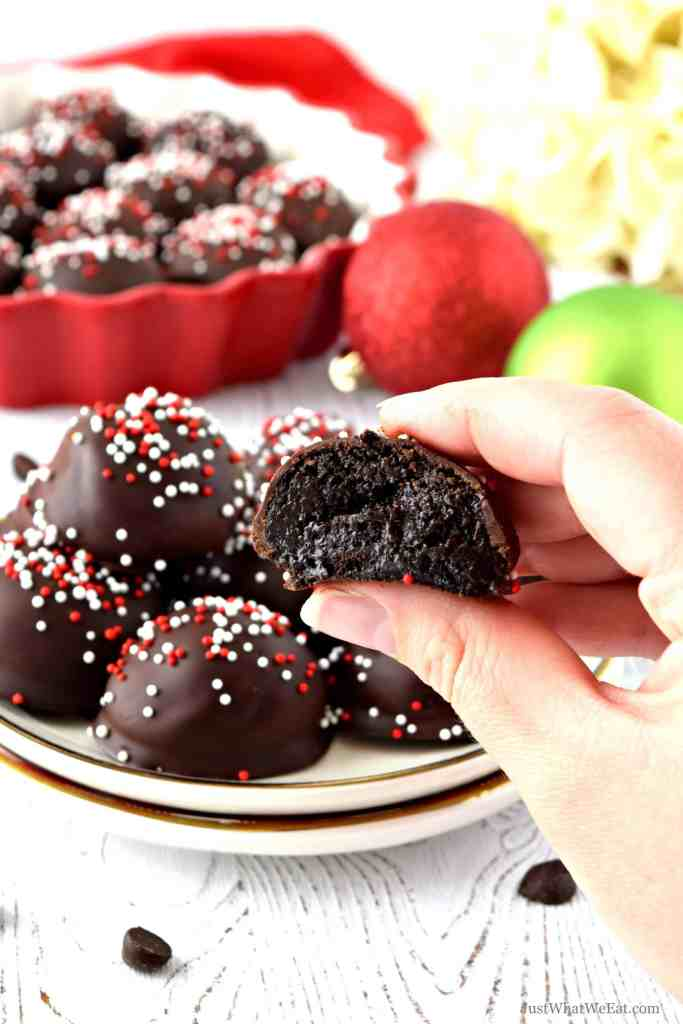 """These gluten free and dairy free """"Oreo"""" Truffles are SO decadent and taste incredible! They taste just like traditional Oreo truffles and are perfect for your next Holiday party! #glutenfree #dairyfree #desserts #recipes #holidays #christmas #oreo"""