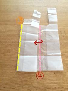 スーパーの袋をコンパクトにたたむ方法④