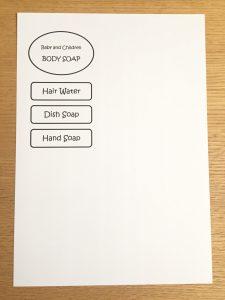 シンプル手作りラベル 英語 ボディーソープ ハンドソープ 食器洗い洗剤