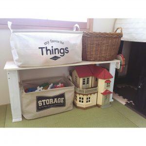 DIYした棚 和室 おもちゃ収納 子供が片付け上手になる
