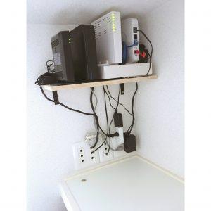 2階 寝室 クローゼット 無線ランルーター モデム 管理 置き場所 配線 整理 収納 配線カバー すっきり 配線整理 DIY