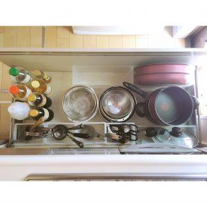 キッチン コンロ下 調理用具収納 整理 収納 鍋 フライパン 調味料 セリア 無印 無印良品 ポリプロピレンファイルボックス1/2サイズ 調理用具整理収納