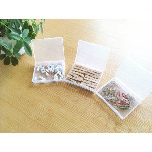 クリップ 押しピン 木のクリップ ぴったりのケース セリア 透明 100円 小さなケース 収納 整理整頓 事務用品