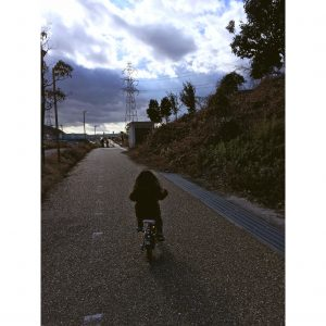 お正月 正月 次女 家族でお出かけ 家族でお出掛け 自転車遊び 自転車 幼稚園児 3歳
