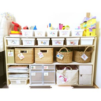 おもちゃ収納 整理整頓 おもちゃ 収納 手作りした棚 DIY セリアのボックスを使ったおもちゃ収納 ニトリ 無印 子供のおもちゃ