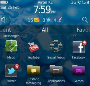 screenshot of Blackberry torch 2