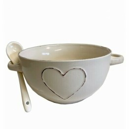 Cream Heart Soup Bowl
