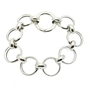 ronde schakel armband zilver