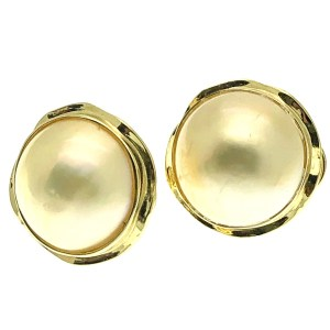 gouden vintage oorknoppen met parel