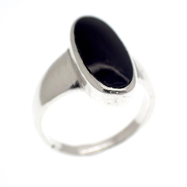 zilveren ring ovaal onyx