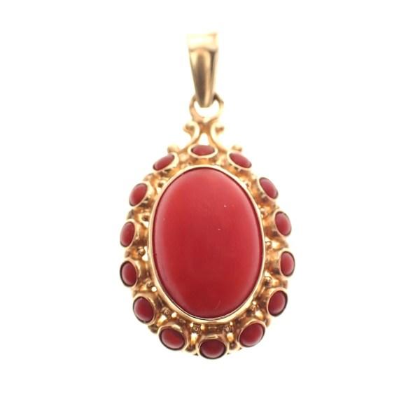 vintage gouden hanger bloedkoraal