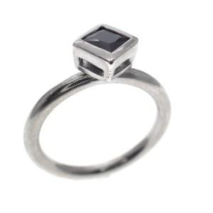 zilveren solitair ring met onyx