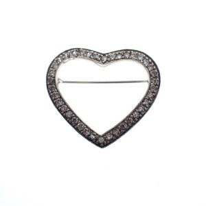 zilveren broche hart met zirconia steentjes