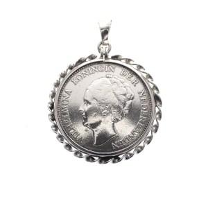 hanger Wilhelmina gulden munt zilver