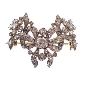 19e eeuwse broche met Amsterdamse rozen diamanten
