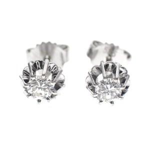 witgouden solitair oorstekers met grote diamant