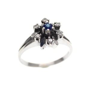 witgouden entourage ring met saffier en diamant