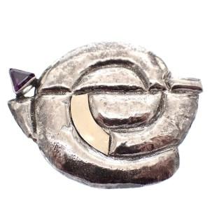 zilveren aparte broche