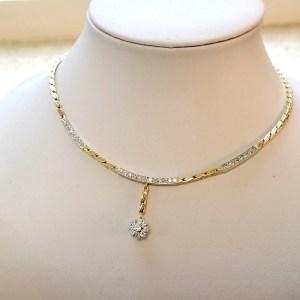 Gouden dames ketting met diamanten