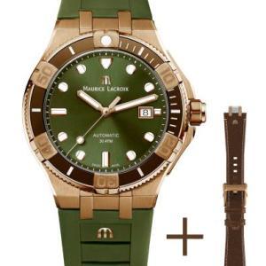 """Die AIKON Venturer Uhren sind Nachfolgerinnen der Maurice Lacroix Calypso, zu der vormals auch ein Tauchermodell gehörte. Dieser Zeitmesser aus Edelstahl der 1990er-Jahre, ein Referenzmodell der Marke sowie ihrer Epoche, besaß bereits die ästhetischen Merkmale, die heute die AIKON kennzeichnen. Mit ihrem integrierten und wasserdichten Gehäuse, ihrer Lünette mit um das flache Saphirglas angeordneten Reitern und ihrem Armband mit appliziertem M-Logo war diese Uhr ein wahrer Hingucker und das Vorzeigeprodukt der Marke. Dank des """"Easychange""""-systems kann letzteres in wenigen Sekunden gegen ein braunes Kalbslederarmband mit Vintage-Effekt und naturweißen Nähten ausgetauscht werden. Die Keramiklünette ist in Braun gehalten, während die Reiter, die als Stundenindizes dienen, dem Stil der Venturer treu bleiben und wie das Gehäuse aus Bronze bestehen."""