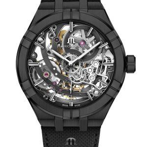AIKON AUTOMATIC SKELETON: « BLACK IS BEAUTIFUL » Die skelettierte Uhr ist Teil der Geschichte und der Uhrmacherkultur von Maurice Lacroix. Als Pionier hat sich die Manufaktur durch ihre Innovationskraft sowie die Kreativität ihrer Modelle schon früh von anderen unterschieden.