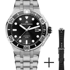 Die AIKON Venturer ist die perfekte Uhr für alle modernen Abenteurer. Sportlich und zugleich schick präsentiert sich die Uhr im Set mit Edelstahl- sowie Kautschukbank, das in Sekundenschnelle ausgetauscht werden kann – dank «Easy Change» Schnellbandwechselsystem. Auch durch das schwarze Zifferblatt ist dieses Modell vielseitig kombinierbar. Neben ihrem Design überzeugt die Uhr durch Funktionalität: Die einseitig drehbare Keramiklünette mit 10-Minuten-Einteilungen macht die AIKON Venturer zu einer echten «Tool Watch».